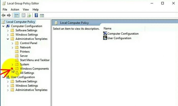 """select """"windows component"""" on the left side"""