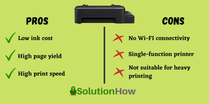 EPSON L120 INK TANK PRINTER pros and cons