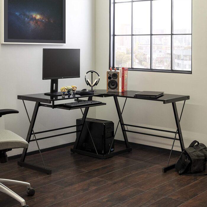 Walker Edison Modern Corner L Shaped Gaming Desk
