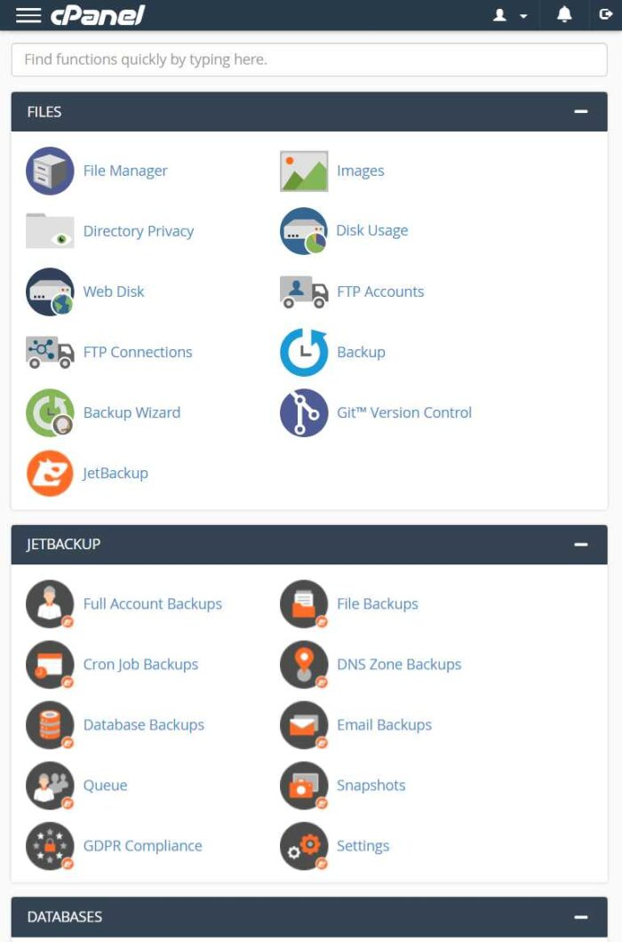 Interserver Cpanel Mobile View