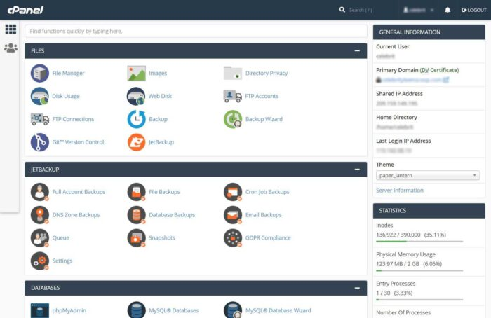 Interserver Cpanel Overview