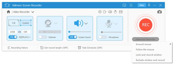 advanced recorder options
