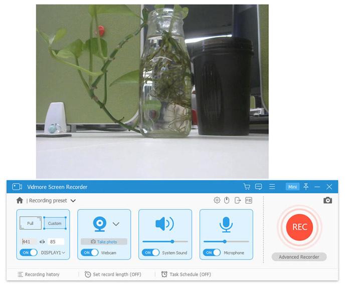 webcam recording settings