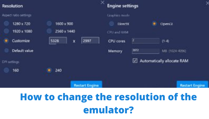 change the Resolution of the emulator